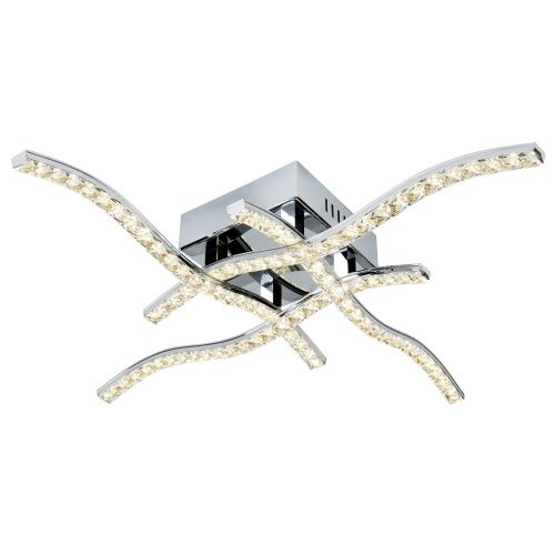 Anson 4 Arm Led Ceiling Flush, Chrome, Clear Crystal Trim (Double Insulated) Bx4204-4Cc-17